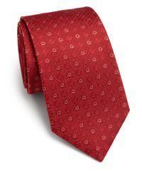 Ferragamo - Red Gancini Woven Silk Tie for Men - Lyst