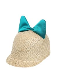Federica Moretti Blue Minu Woven Straw Hat With Silk Satin Bow