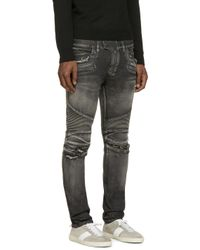 Balmain | Black Distressed Biker Jeans for Men | Lyst