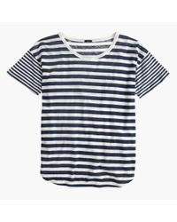 J.Crew - Blue Mixed-stripe Vintage Cotton T-shirt With Rounded Hem - Lyst