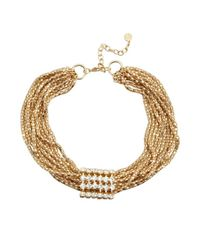 R.j. Graziano | Metallic Gold And Crystal Statement Necklace | Lyst