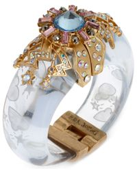 Betsey Johnson Multicolor Gold-Tone Star And Cloud Clear Bangle Bracelet