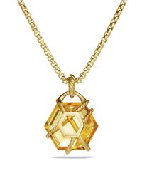David Yurman | Metallic Cable Wrap Pendant With Champagne Citrine | Lyst