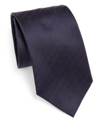 Armani | Brown Chevron Silk Tie for Men | Lyst