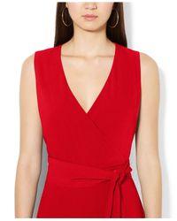 Lauren by Ralph Lauren Red Sleeveless V-Neck Belted Jumpsuit