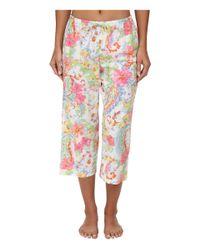 Lauren by Ralph Lauren White Goa Lawn 3/4 Sleeve Notch Collar Capri Pj Set