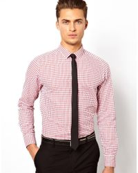 ASOS | Red Smart Shirt in Long Sleeve with Grid Check for Men | Lyst
