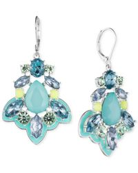 Nine West - Silver-tone Blue Crystal Chandelier Earrings - Lyst