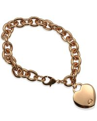 Guess | Pink Rose Gold-tone Heart Charm Link Bracelet | Lyst