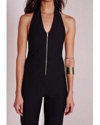 Missguided - Zip Front Halter Neck Jumpsuit Black - Lyst