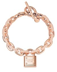 Michael Kors | Pink Rose Goldtone And Blush Padlock Toggle Bracelet | Lyst