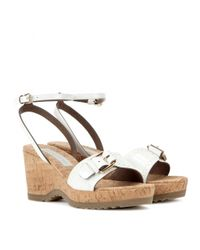 Stella McCartney White Linda Cork Wedge Sandals