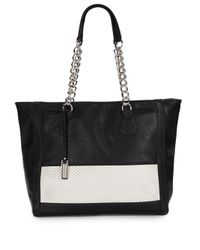 Urban Originals | Black Colorblock Perforated Panel Faux Leather Tote | Lyst