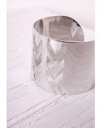 Missguided - Metallic Chevron Cut Out Cuff Silver - Lyst