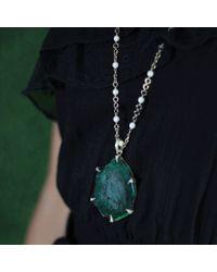 Sylva & Cie - Green Emerald Slice Pendant - Lyst