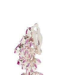 CZ by Kenneth Jay Lane - Pink Cubic Zirconia Leaf Drop Marquise Cut Clip Earrings - Lyst
