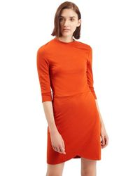 TOPSHOP Orange Faux Wrap Body-con Dress