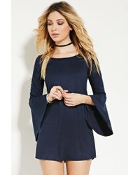 Forever 21 | Blue Faux Suede Trumpet-sleeve Dress | Lyst