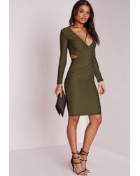 Missguided | Natural Cut Out Bodycon Dress Khaki | Lyst