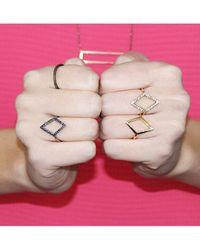 Adornia | 14k Yellow Gold And White Diamond Thompson Ring | Lyst
