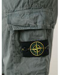 Stone Island Gray Cargo Shorts for men