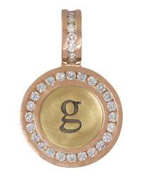 Heather Moore Metallic 14K Yellow/Rose Gold Single Lowercase Initial Charm With Diamonds