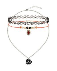 TOPSHOP | Orange Pack Of Three Flower Charm Tattoo Chokers | Lyst