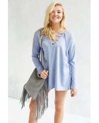 Silence + Noise Blue Rex Lace-up Tunic Top