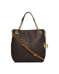 Michael Kors | Brown Jet Set Medium Logo Chain Shoulder Bag | Lyst