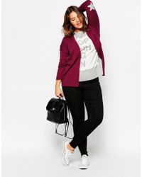 ASOS - Purple Swing Cardigan With Grey Star Elbow Patch - Lyst