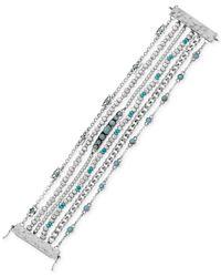 Lucky Brand | Metallic Silver-tone Multi-row Beaded Bracelet | Lyst