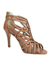 Adrienne Vittadini Brown Gusty Leather Strappy Sandals