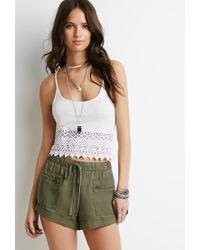 Forever 21 Green Drawstring Cuffed Shorts