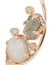 Jacquie Aiche - Multicolor Grey Moonstone, Labradorite And Diamond Bezel Pair Of Mini Hoops - Lyst