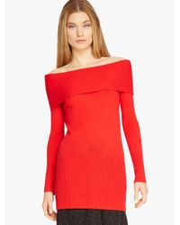 Halston Red Off Shoulder Cashmere Sweater