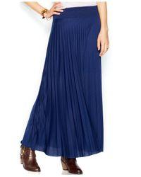 Maison Jules - Blue Pleated Maxi Skirt - Lyst
