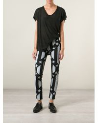 Love Moschino | Black Stars And Stripes Cropped Jeans | Lyst