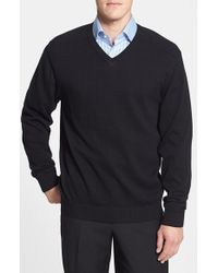 Cutter & Buck | Black 'broadview' Cotton V-neck Sweater for Men | Lyst