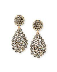Oscar de la Renta Black Classic Crystal Teardrop Clip Earrings