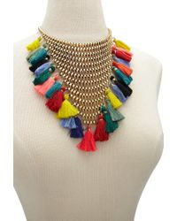 Forever 21 | Multicolor Stacked Chain Tassel Statement Necklace | Lyst