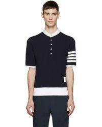 Thom Browne - Blue Navy Cotton Pique Armband Polo for Men - Lyst