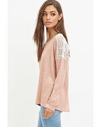 Forever 21 - Pink Crochet-paneled Slub Knit Top - Lyst