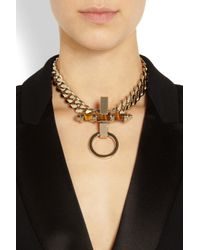 Givenchy | Metallic Obsedia Necklace In Pale Gold-Tone Brass And Tiger'S Eye | Lyst