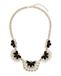Mikey | White Half Moon Enamel Linked Necklace | Lyst