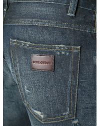 Dolce & Gabbana - Blue Ripped Jeans for Men - Lyst