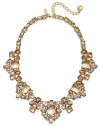 kate spade new york | Gold-tone Pink Stone Statement Necklace | Lyst