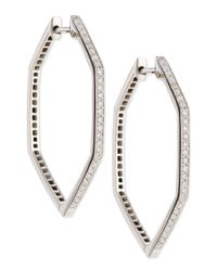 Stephen Webster | 18K Deco Hoop Earrings With Black And White Diamonds | Lyst