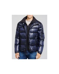 Sam. Blue Shiny Racer Quilted Down Jacket