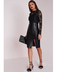Missguided - Faux Leather Lace Midi Dress Black - Lyst