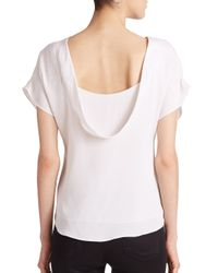 MILLY - White Draped Stretch-silk Top - Lyst